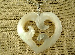 White Mother Of Pearl Tri-Koru Heart Necklace